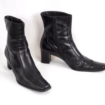 Leather Ankle Boots Square Toe Zip Up Sz 7.5 Hand Made Austria Paul Green