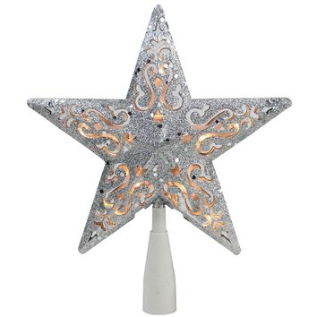 "8.5"" Silver Glitter Star Cut-Out Design Christmas Tree Topper Clear Lights"