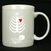 Funny Pregnant Skeleton Halloween For Ceramic Mugs Coffee *