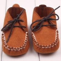 Soft Baby Shoes Newborn Boy Girl Crib Shoes Toddler Lace Up Loafer Pre walker Shoes