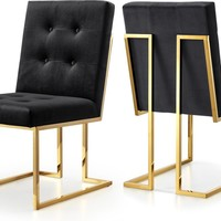 Pierre Black Velvet Dining Chair (set of 2)