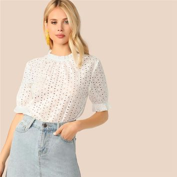 Elegant White Frilled Mock Neck Puff Sleeve Schiffy Top Blouse Women  Keyhole Back Solid Office Lady Blouses