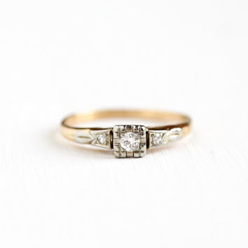 Vintage 14k Yellow & White Gold .08 CTW Diamond Ring - Size 6 Two Tone Mid-Century 1940s 1950s Fine Engagement Embossed Bridal Jewelry