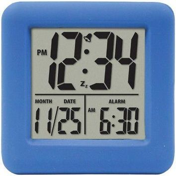 Licensed EQUITY BY LA CROSSE 70905 Soft Cube LCD Alarm Clock (Blue) KO_19_1