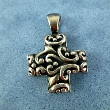 Sterling Silver Cross Pendant Barse-Like Openwork Filigree Design Very Appealing Nice Large Bale Accommodates Thick Cord or Chain VGC