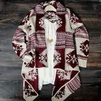 aztec waterfall cardigan | burgundy