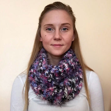 Chunky & Super Soft Infinity Scarf • Wool/Acrylic/Nylon Blend • Short Loop • Knit Scarf • MINI ROLLING коса •