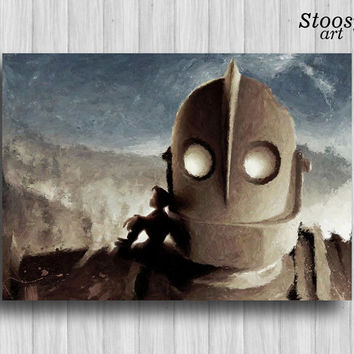 iron giant print robot painting boys room decor
