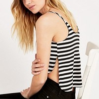 Sparkle & Fade Stripe Cami Top in Black and White - Urban Outfitters