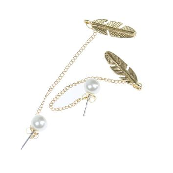 Simulated Pearls Long Tassel Dangle Earrings For Women Leaf Feather Drop Jewelry Earring