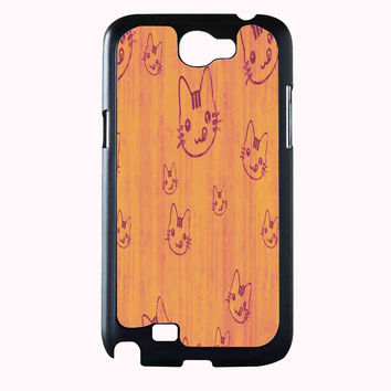 head cat pattern FOR SAMSUNG GALAXY NOTE 2 CASE**AP*