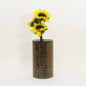 Wood Bud Vase, Wood Test Tube Vase, One Flower Vase, Wooden Bud Vase Centerpiece, Painted Vase, Rustic Home, Home Decor, Silver Dots
