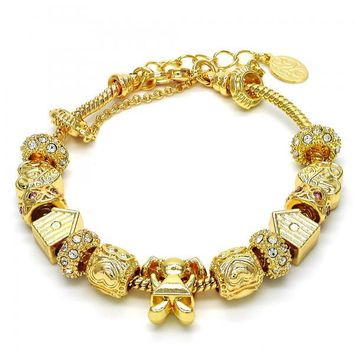 Gold Layered 03.63.1802.08 Fancy Bracelet, Little Girl and Heart Design, with White and Pink Crystal, Polished Finish, Golden Tone