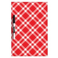 Red Gingham Pattern Dry Erase Board