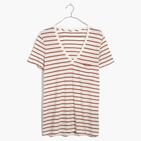 Whisper Cotton V-Neck Pocket Tee in Abilene Stripe : shopmadewell short-sleeve tees | Madewell
