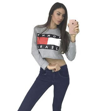 Women sweatshirt pullover Casual shirt o-neck crop top long sleeve street styles Tommy gray
