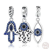 Authentic 925 Sterling Silver Jewish Pandora Beads Blue Crystal Charms DIY Jewelry