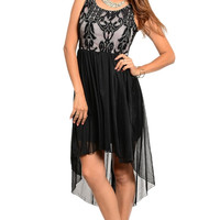 Lined Lace Sheer Tulle High Low Hem Dress