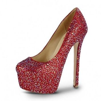 POSH GIRL  Leigh Red Rhinestone Platform Pumps