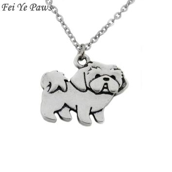 Fei Ye Paws Stainless Steel Chain Shih Tzu Dog Charms Necklaces Pendants Long Necklace For Women Men Jewelry Christmas Gift
