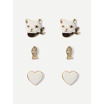 Cat & Fish Stud Earrings 3pairs