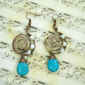 Turquoise earrings, wire wrapped earrings, wire wrapped handmade jewelry, copper wire handmade earrings, unique earrings, spiral earrings