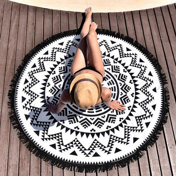 beach towel large round beach towel Serviette Ronde Toalla Playa Circle Beach Towels Swimming Travel blanket Bath Towel #2017