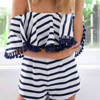 Black and White Stripe Cold Shoulder Romper