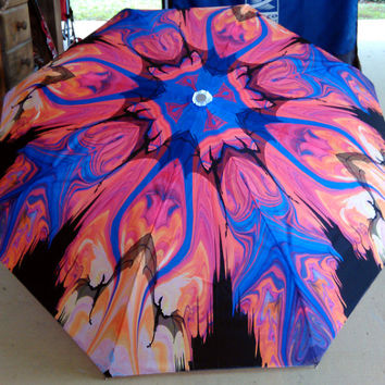 Art Umbrella Abstract Landscape Dragons Fire Mythical Animal Red Blue Silhouette Yellow