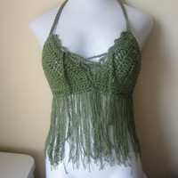 ON SALE Halter top, Fringe bikini cover, GREEN,  festival, carnival top  gypsy clothing, Bohemian top,Cotton