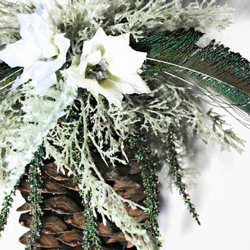 Sugar Pine Cone Winter Decor Accented with Lots of Faux Greens and Peacock Feathers - (#300.7)