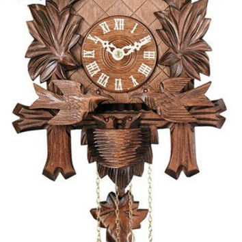"13"" Carved Maple Leaves & Moving Birds One Day German Cuckoo Clock"