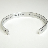 Gift for Mother-in-law - Mother-in-law gift - Thank you for raising the man of my dreams cuff bracelet - Wedding gift for in-law