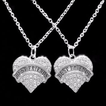 Crystal Best Friends Heart Best Friend Friendship Gift Charm Necklace Set