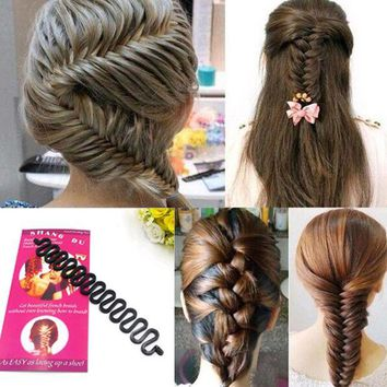 DK7G2 1 PC Women Lady French Hair Braiding Tool Braider Roller Hook With Magic Hair Twist Styling Bun Maker Hair Band Accessories
