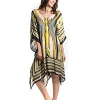 T&C Theodora & Callum Multi-Color Tribal Print Cover-Up