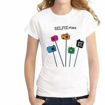 SELFIE STICKS Graphic Printed T Shirt Tee