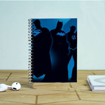 DC Superheroes Dark Blue Vector Photo Notebook Auroid
