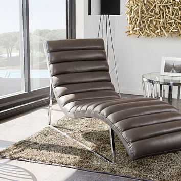 Bardot Chaise Lounge w/ Stainless Steel Frame by Diamond Sofa - White