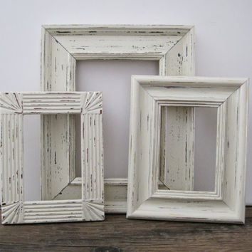 Open Picture Frame Set Of 3 White Shabby Chic Wall Decor