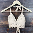 boho festival crochet crop top - nude