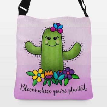 Bloom Where Youre Planted Adjustable Strap Tote by noondaydesign on BoomBoomPrints