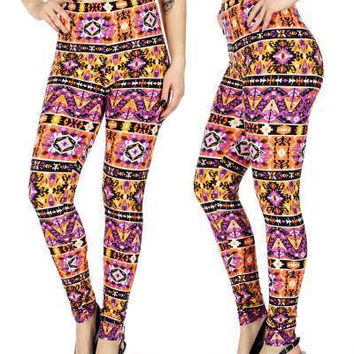 Horizontal Tribal Print  Softbrush leggings PLUS SIZE
