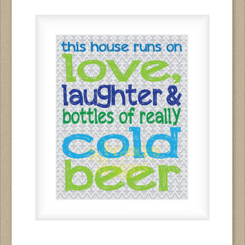 8x10 Graphic Print Wall Art, Bottles of Cold Beer