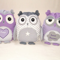 Organic Owl, Owl Pillow, Stuffed Animal Softie Unisex Grey White Purple / Al Heart Owl Pillow - HET -