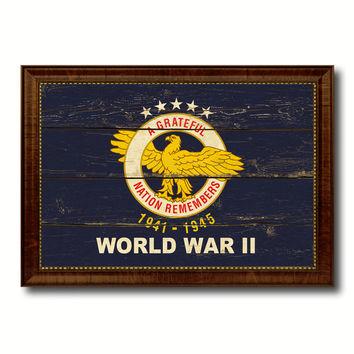 World War 2 Military Flag Vintage Canvas Print with Brown Picture Frame Gifts Ideas Home Decor Wall Art Decoration