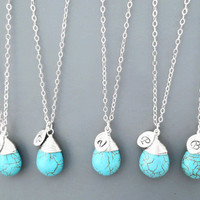 Set of 1-10, silver, Turquoise, necklace, beach, wedding, nautical, bridesmaid, jewelry, set, necklace, set, bridal, necklace, for, bride