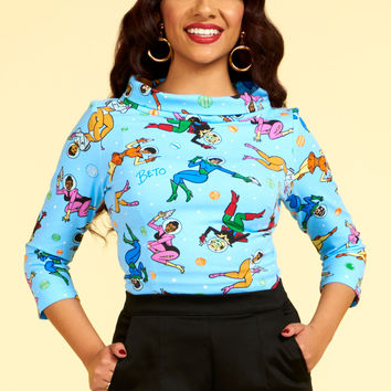 Laura Byrnes California Joanie Top in Space Babes Print