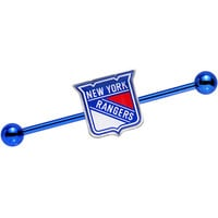 Licensed Blue Anodized NHL New York Rangers Industrial Barbell 38mm | Body Candy Body Jewelry