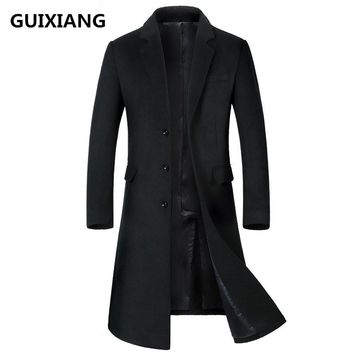 2017 Winter Overcoat Men's fashion Long style woolen trench coat jacket Men's casual coats jackets wool Outerwear men windbreak
